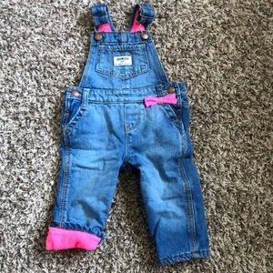 Fleece lined bibbed jeans